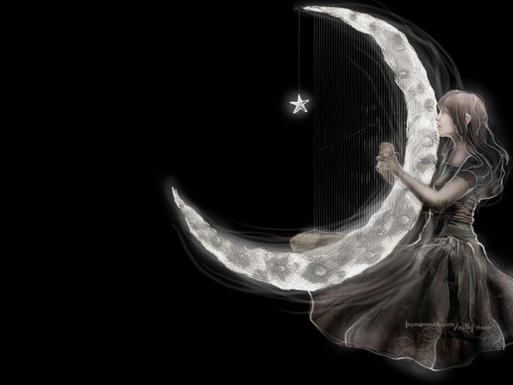Elena Aker, arpista. Arpa de luna